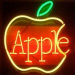Old-School Neon Apple Logo
